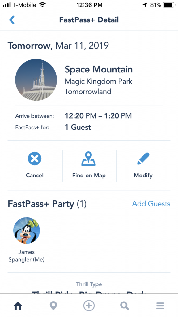 FastPass+ Reservation on an iPhone